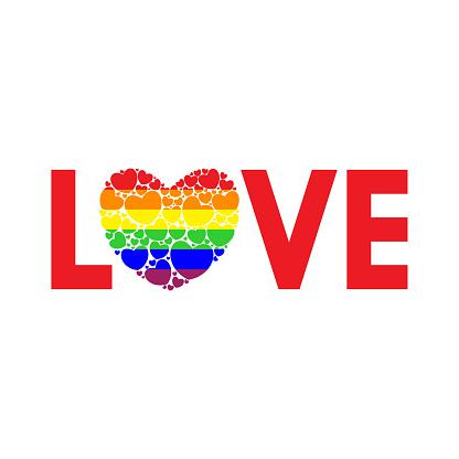 Woord Liefde Geschreven In Regenboogkleuren Stockvectorkunst en meer beelden van Begrippen