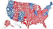 Vector illustration of a red and blue United States map made from the names all fifty states.
