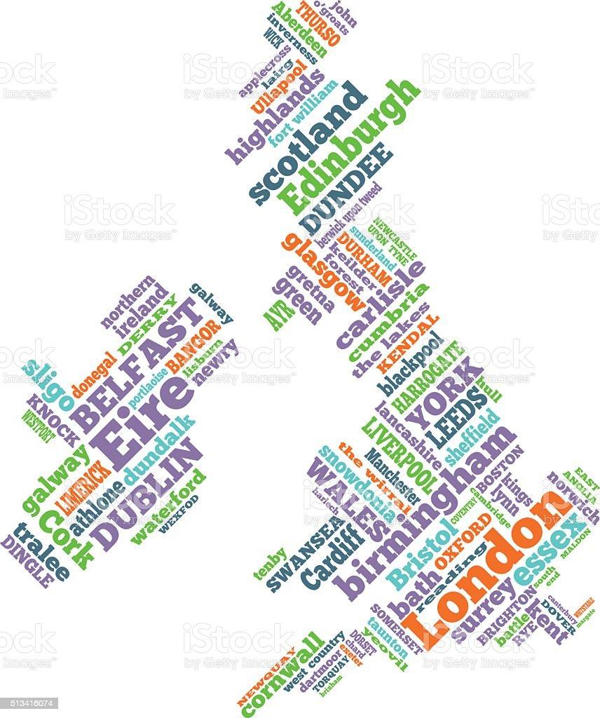 UK word map illustration vector art illustration