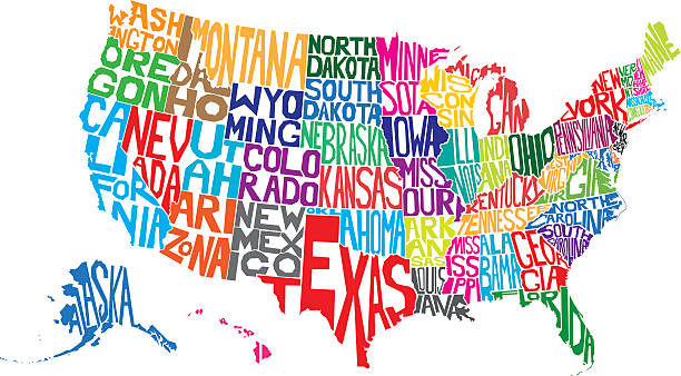 USA Word Map Vector illustration of a map of USA made from individual state names. florida us state stock illustrations