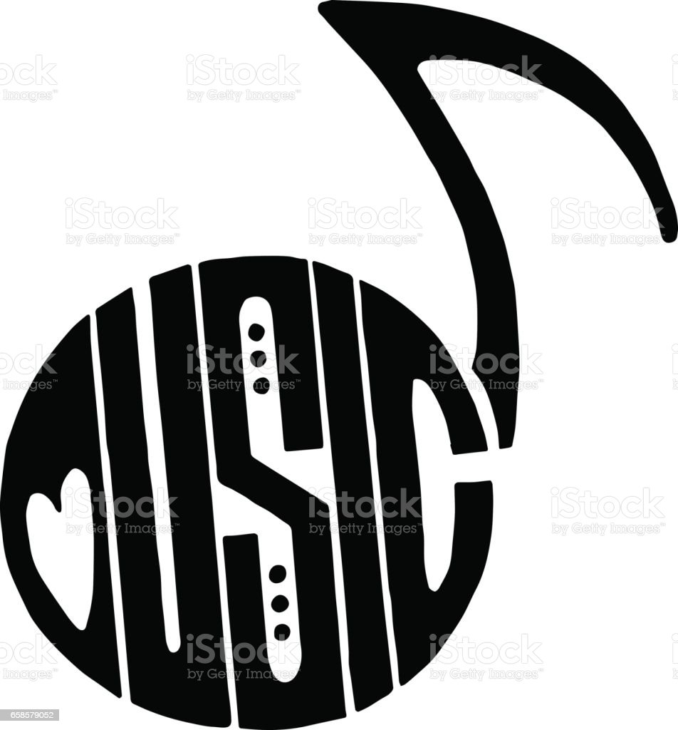 Word Music Fits Into An Abstract Musical Note Stock Vector Art