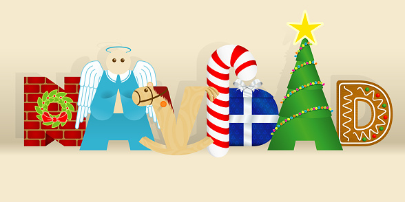 Word NAVIDAD -CHRISTMAS in Spanish language- consisting of a wall, an angel, a wooden horse, a candy cane, a gift, a decorated tree and a gingerbread cookie on yellow background