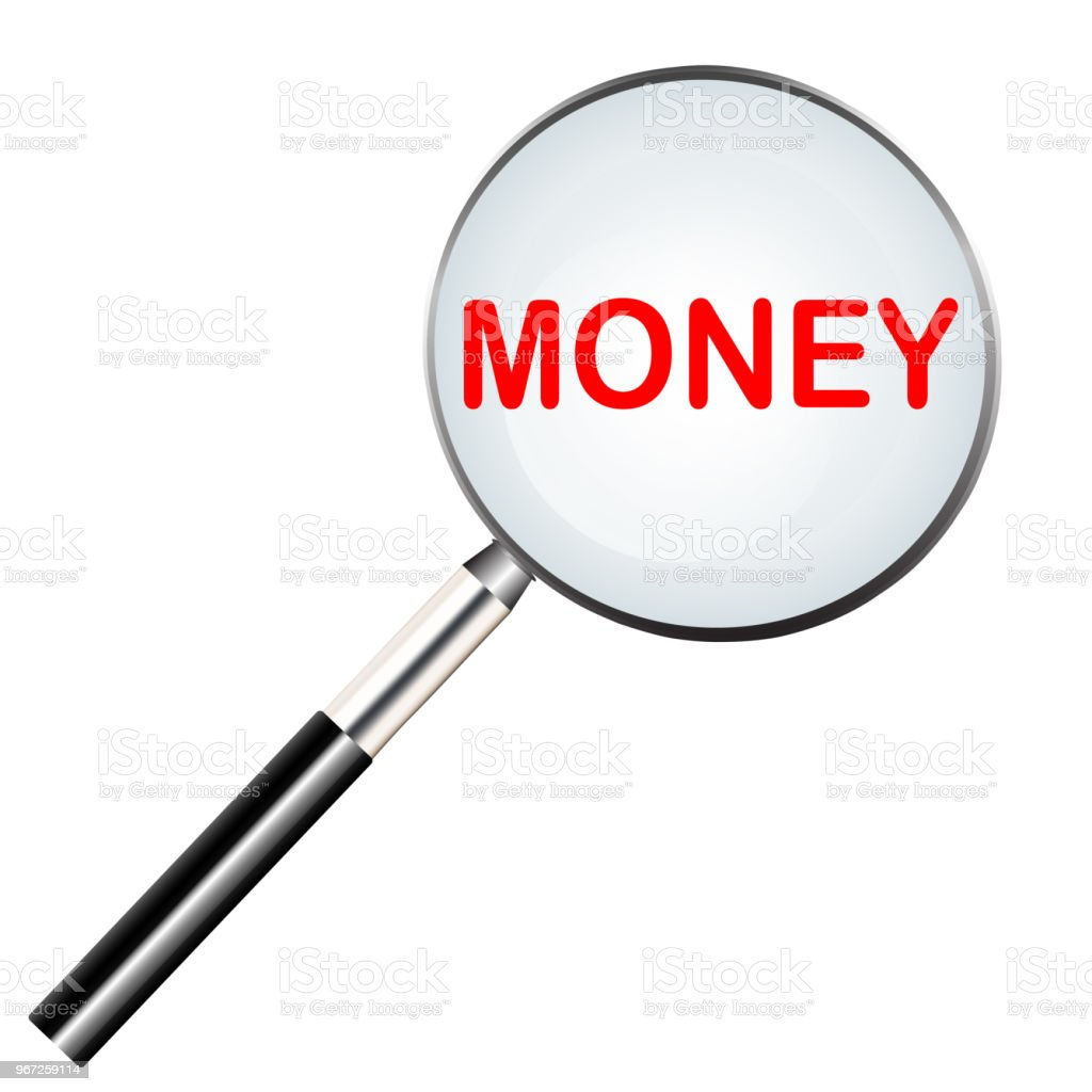 Word Of Money Highlighted With Red Color In Magnifier Icon Or