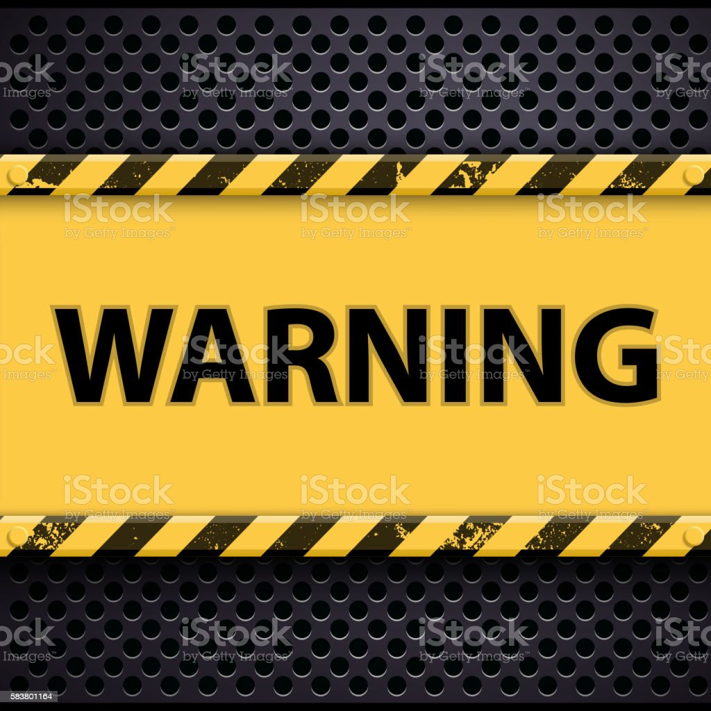 Word Of Warning On A Metal Background stock vector art 583801164 ...