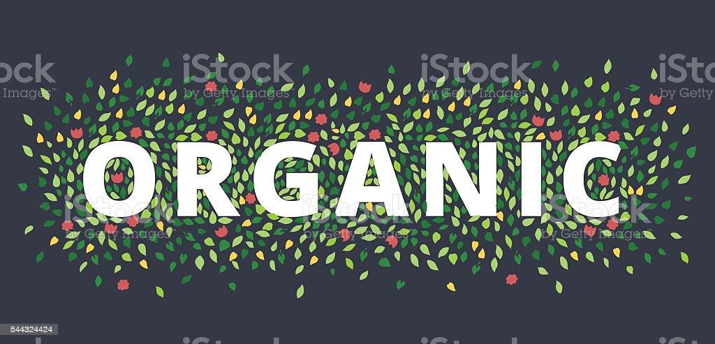 Ilustración De Palabra Orgánicos Con Hojas Verdes Y Más Banco De