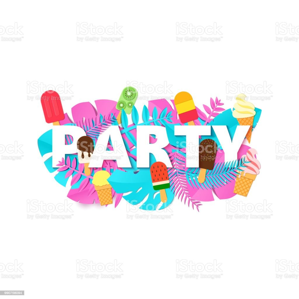 Word Party Sommer Komposition Mit Kreativen Rosa Blau Dschungel ...