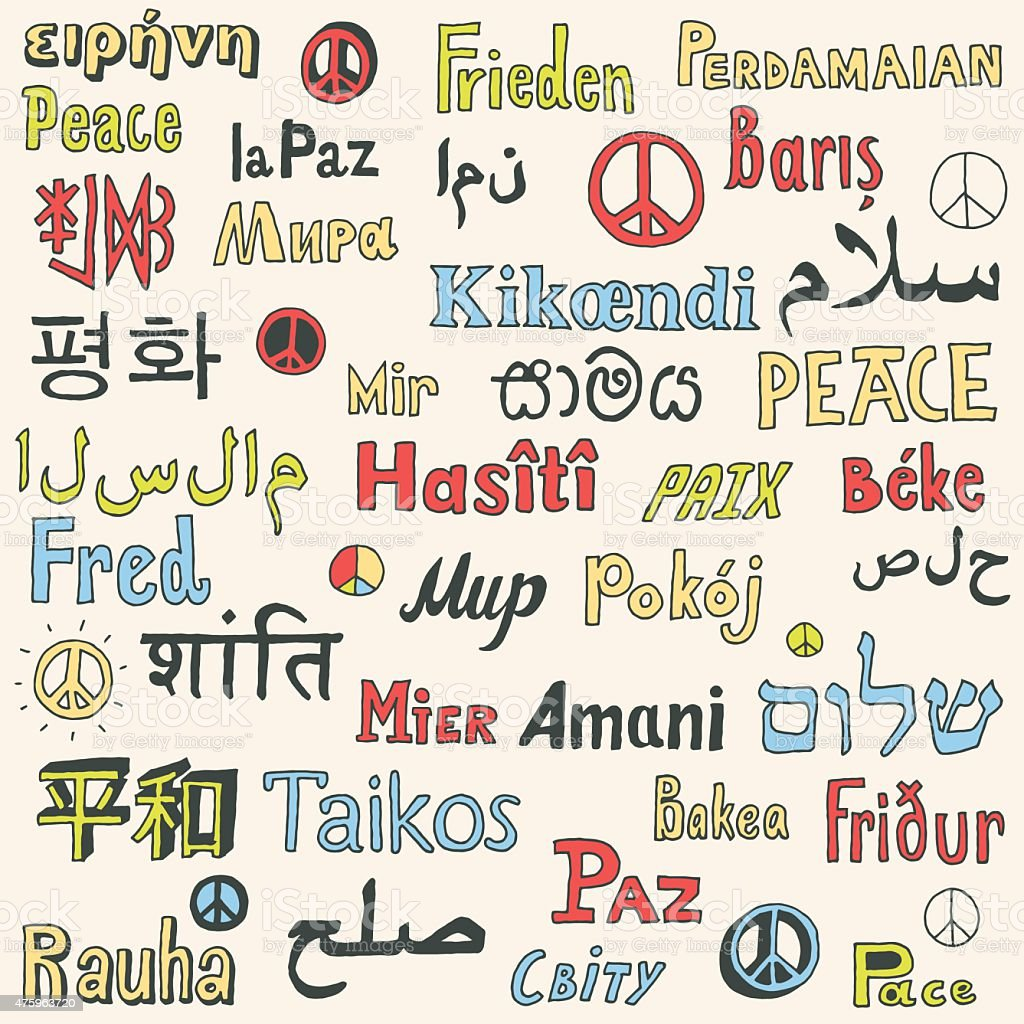 Word Peace In Different Languages Of The World Stock