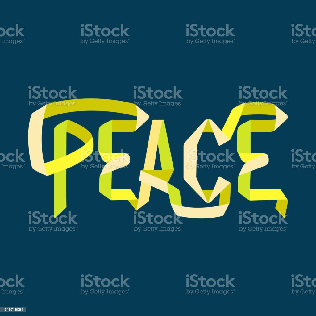 Word 'Peace' made in ribbon style vector art illustration