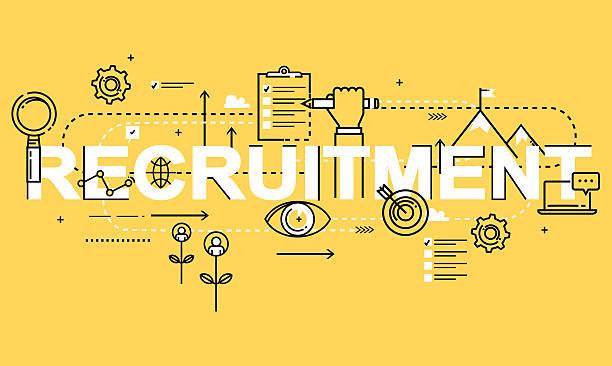 Word RECRUITMENT, line flat vector business design vector art illustration