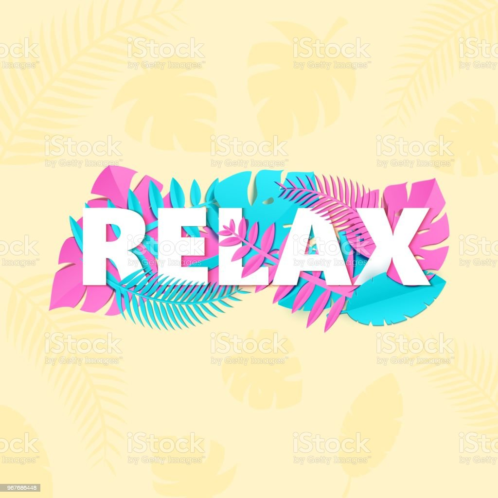 Word Relax Composition With Creative Pink And Blue Jungle Leaves On