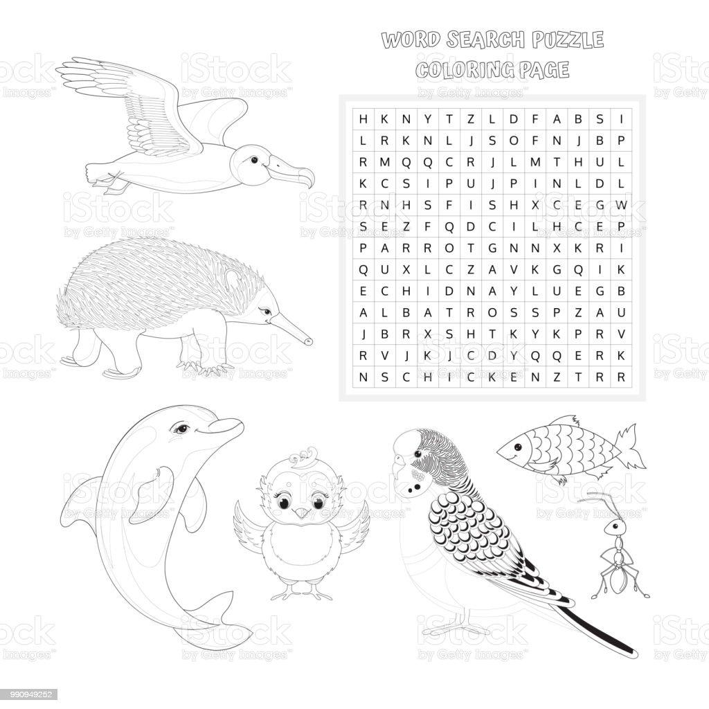 Wortsuchrätsel Buch Malvorlagen Vektorbildung Spiel Für Kinder über ...