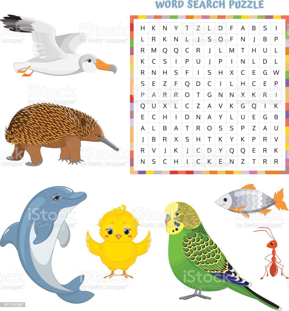 Wortsuchrätsel Vektorbildung Spiel Für Kinder über Tiere ...