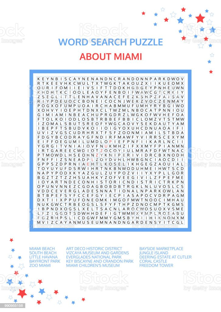 Word search puzzle. Vector game about Miami. Worksheet for adults, teenagers and children.  Advanced level of complexity. Colorful printable version. Famous city of the United States of America. USA. vector art illustration