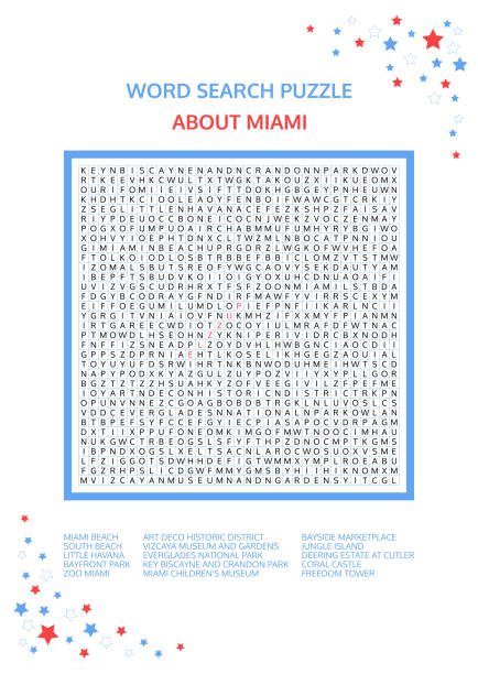 Word search puzzle. Vector game about Miami. Worksheet for adults, teenagers and children.  Advanced level of complexity. Colorful printable version. Famous city of the United States of America. USA. Word search puzzle. Vector game about Miami. Worksheet for adults, teenagers and children.  Advanced level of complexity. Colorful printable version. Famous city of the United States of America. USA. art deco district miami stock illustrations