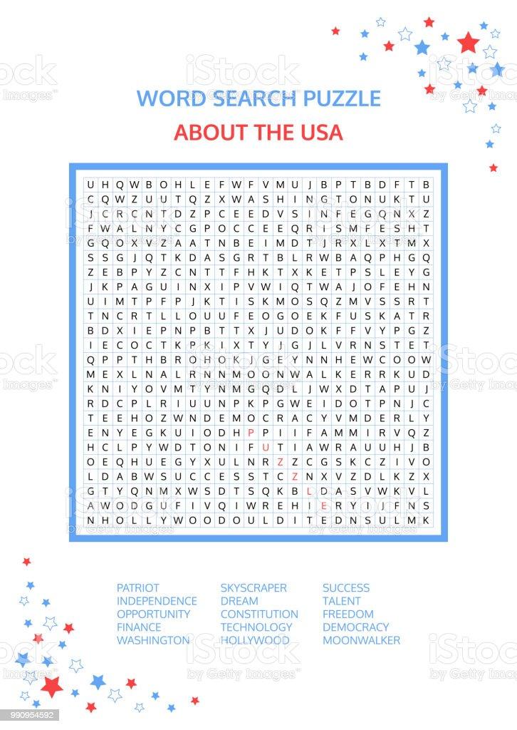 Wortsuchrätsel Vektorspiel über Den Usa Arbeitsblatt Für Erwachsene ...