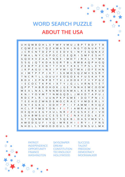 Word search puzzle. Vector game about the USA. Worksheet for adults, teenagers and children. Colorful printable version. About the United States of America. Advanced level of complexity. Vector. Word search puzzle. Vector game about the USA. Worksheet for adults, teenagers and children. Colorful printable version. About the United States of America. Advanced level of complexity. Vector. Anglo American stock illustrations