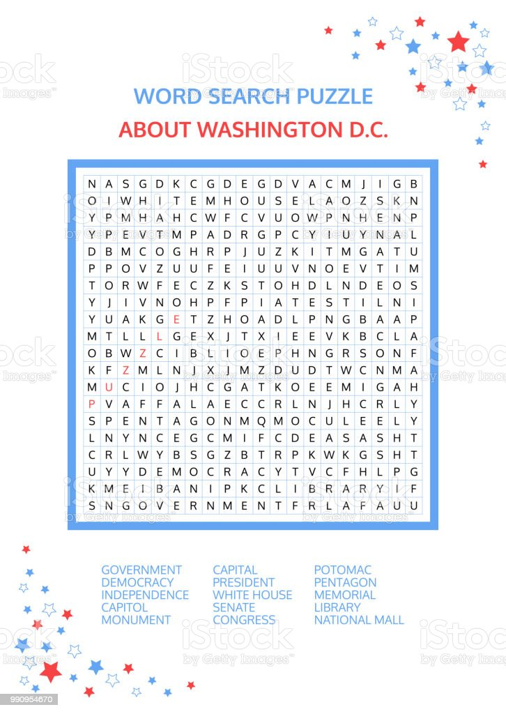 picture relating to Washington Post Sunday Crossword Printable named Phrase Look Puzzle Vector Match Regarding Washington Dc Worksheet