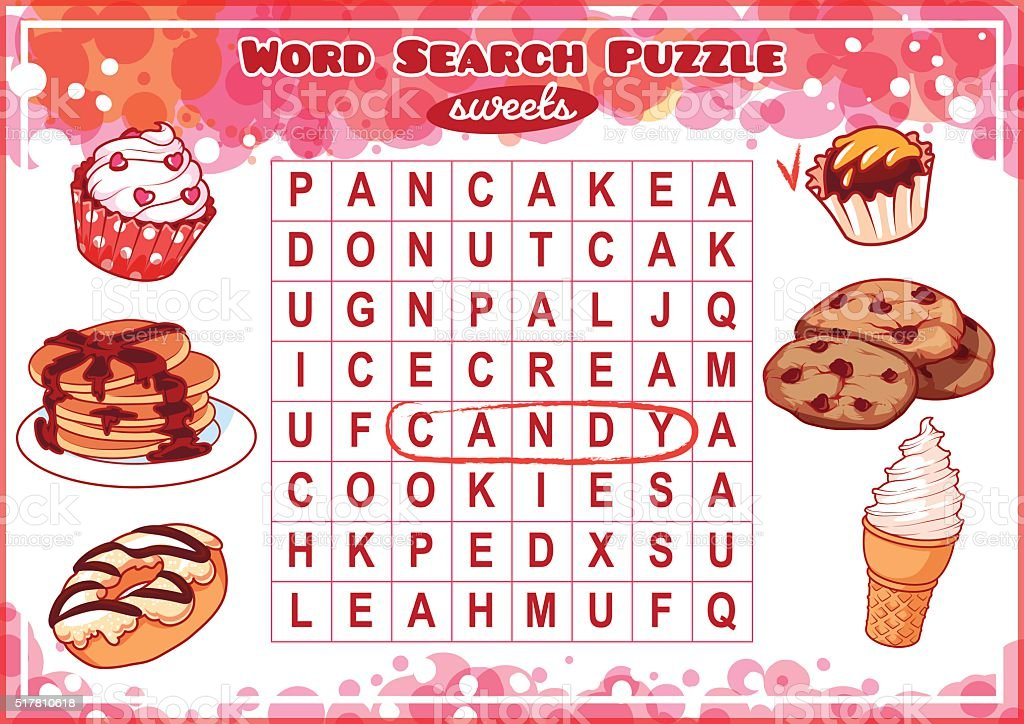 word search puzzle with sweets royalty free word search puzzle with sweets stock vector