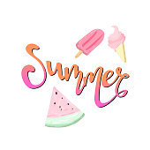 Word Summer Lettering, watermelon and ice-cream