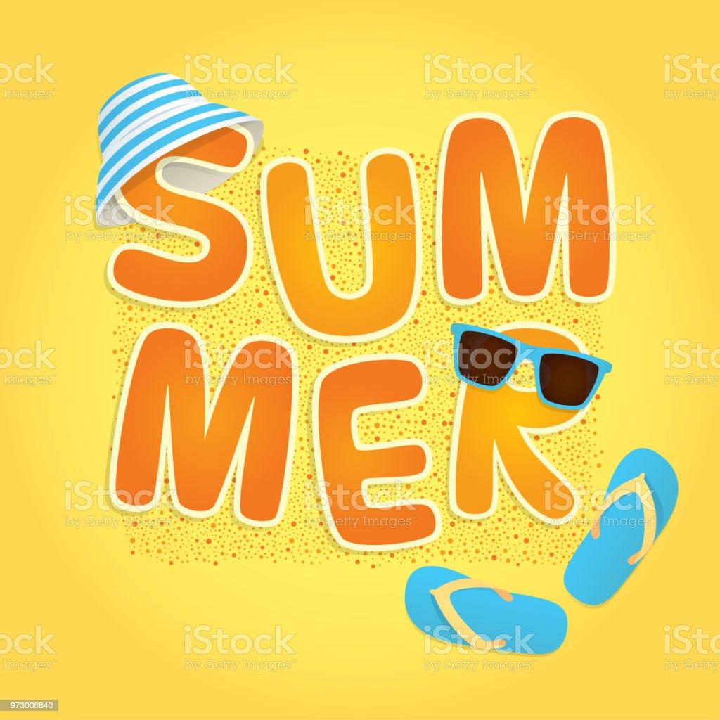 word summer on sand vector art illustration