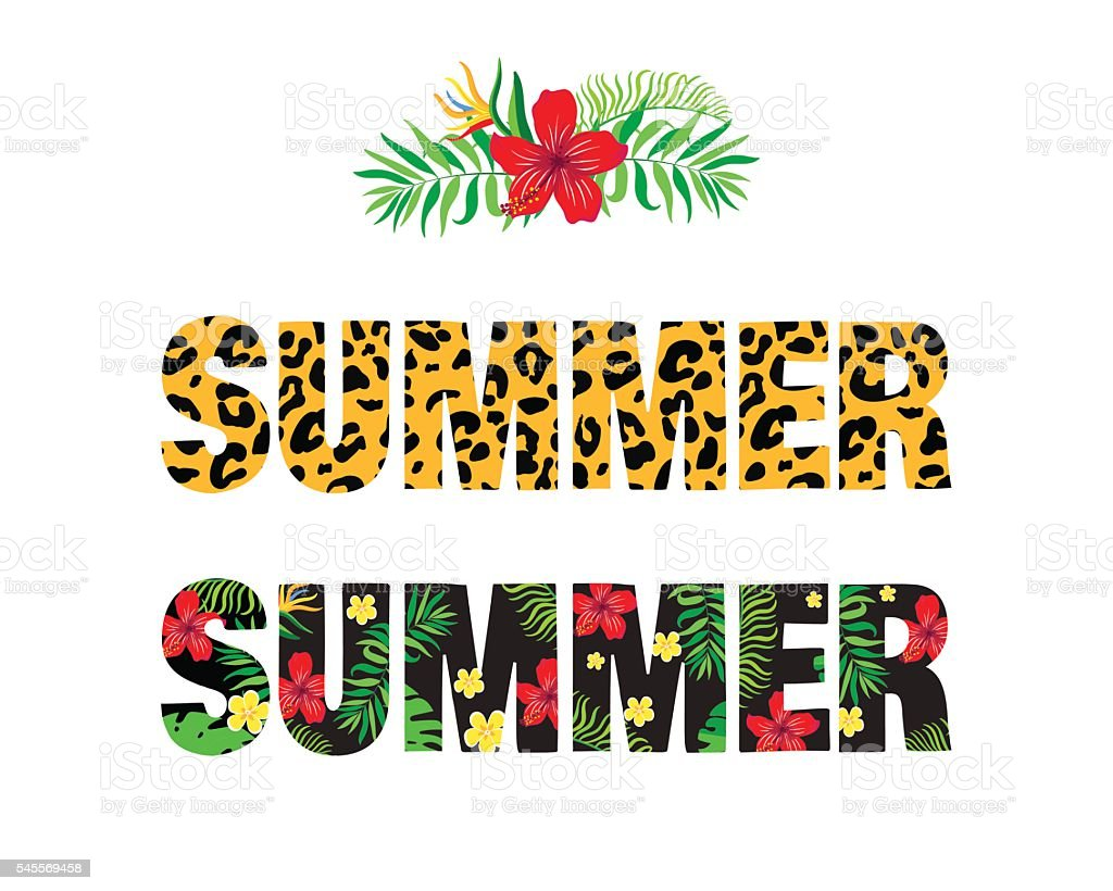 """Word """"summer"""" with tropical pattern."""
