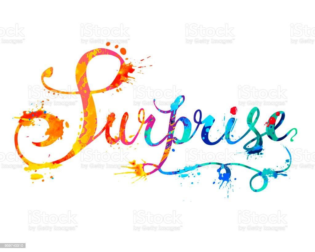 word surprise doodle inscription of splash paint stock