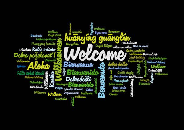 illustrazioni stock, clip art, cartoni animati e icone di tendenza di word tag cloud, shows equivalents of 'welcome' - lingua