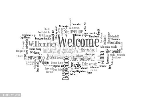 Word Tag Cloud, shows equivalents of 'Welcome', how to say it in many languages, vector ESP10