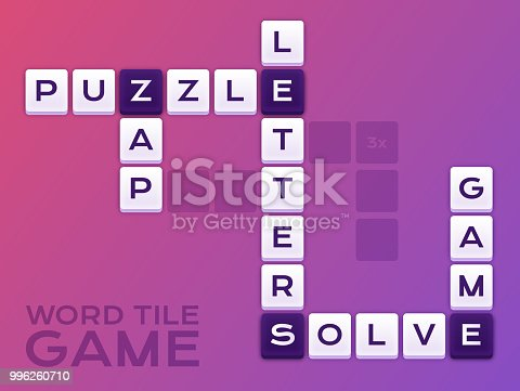 Word tile crossword puzzle game background design.