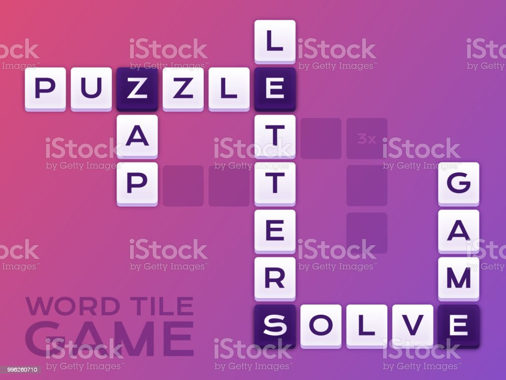 Word Tile Crossword Puzzle Game vector art illustration