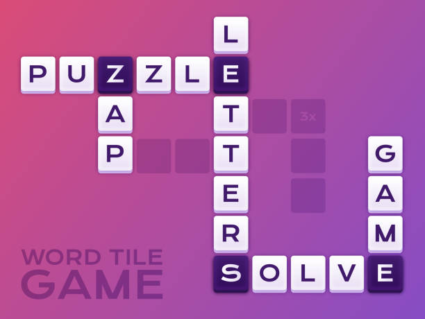 Word Tile Crossword Puzzle Game vector art illustration