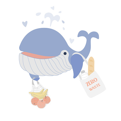 Word Whale Day. Eco-color