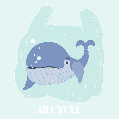 Word Whale Day. Plastic bag color