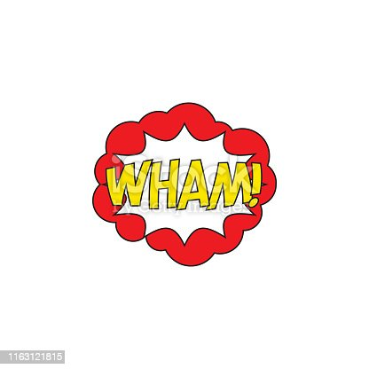 istock word 'WHAM!' in retro comic explosion cloud on white background. vector vintage pop art illustration easy to edit and customize. eps 10 1163121815