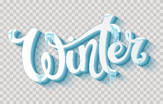Word Winter with snow and icicles