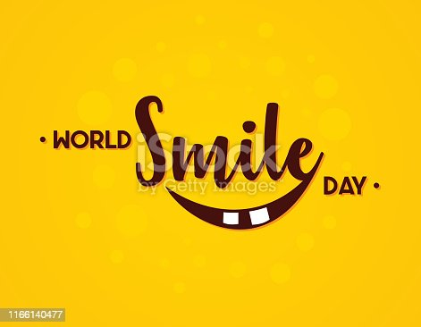 Word World Smile Day vector In flat style. Letter vector World Smile Day for element design. Vector illustration EPS.8 EPS.10