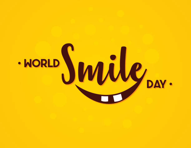 stockillustraties, clipart, cartoons en iconen met word world smile dag vector in platte stijl - smile