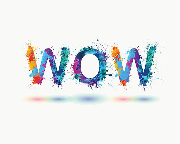 Word WOW. Rainbow splash paint sign vector art illustration