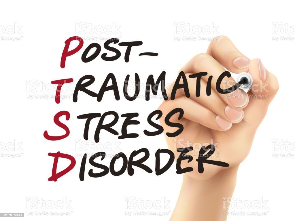 PTSD word written by 3d hand vector art illustration