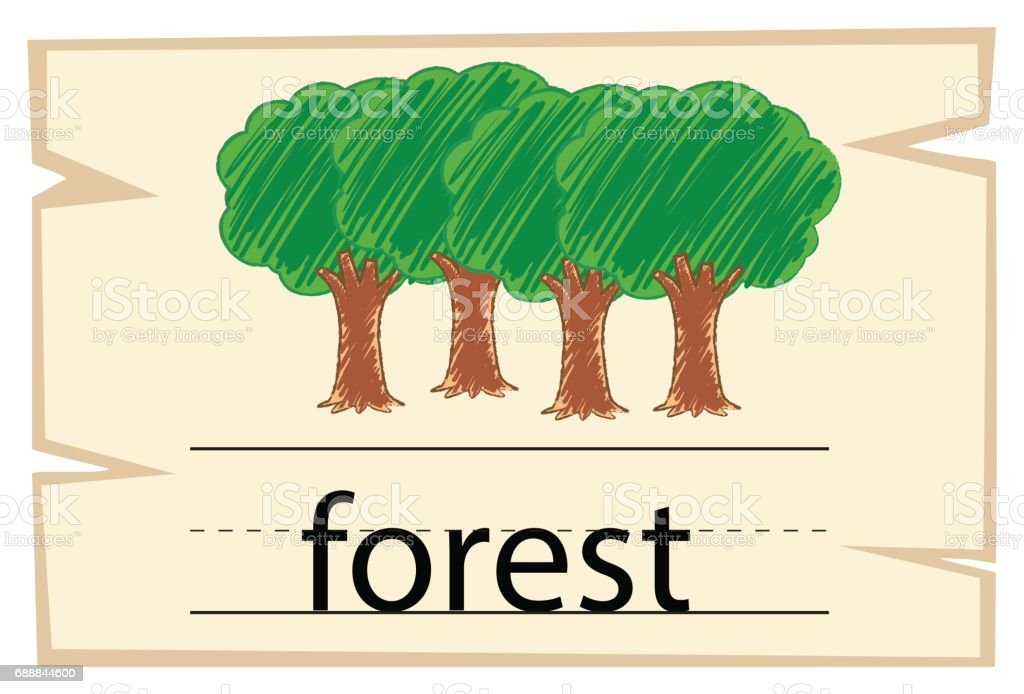 Wordcard template for word forest vector art illustration