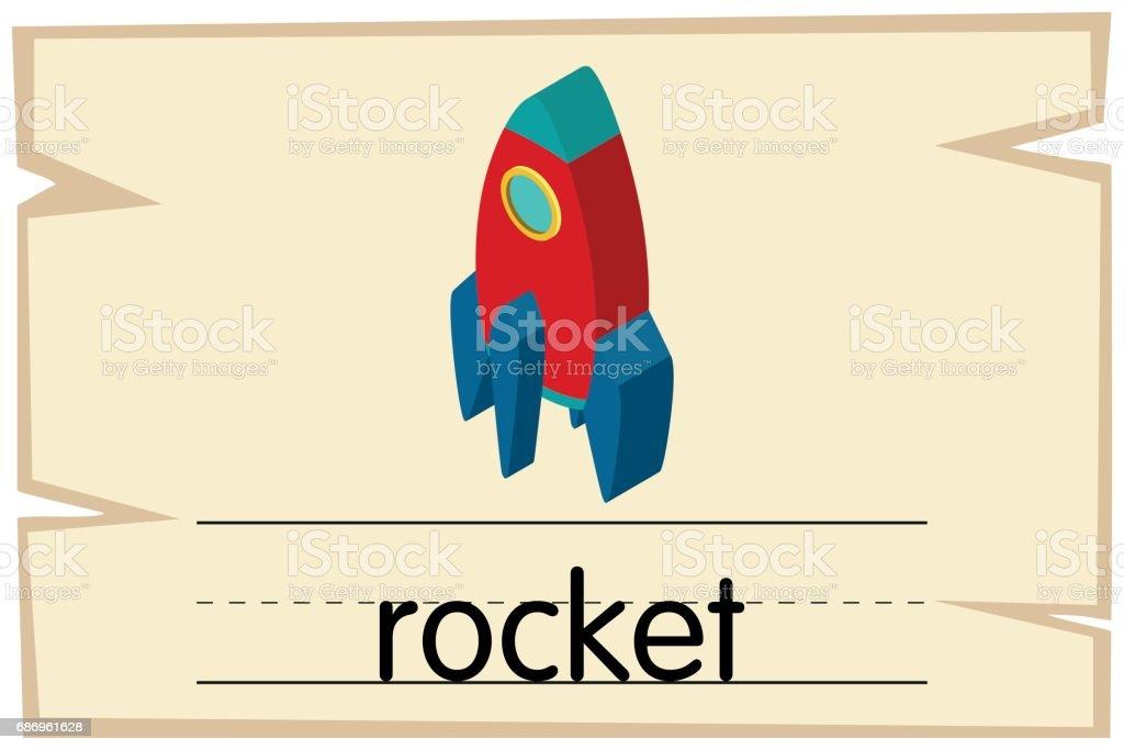 ロケットと言う言葉の wordcard テンプレート おとぎ話のベクター