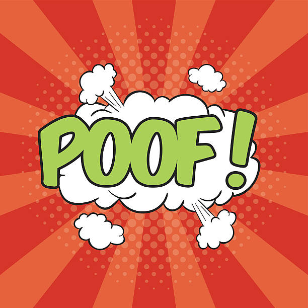 stockillustraties, clipart, cartoons en iconen met poof! wording sound effect - absentie