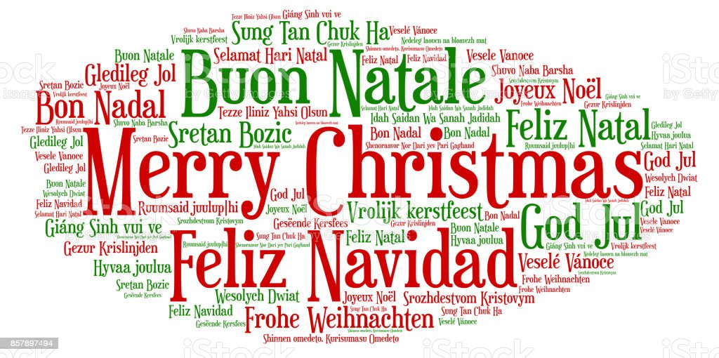 Words Cloud Merry Christmas In All Languages Of The World Stock - All languages in the world