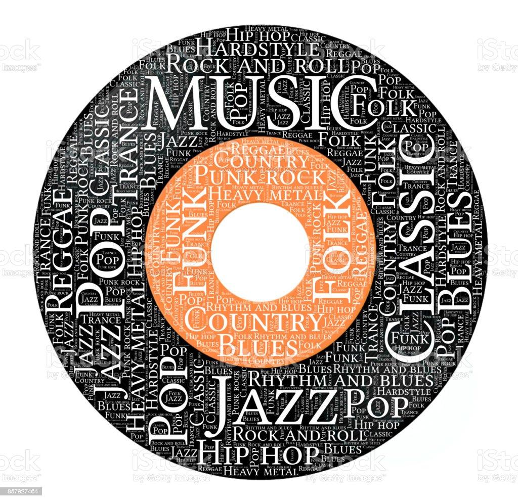 Ilustración de Nube De Palabras De La Música Forma De Discos De ...