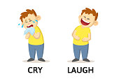 Words cry and laugh textcard with cartoon characters. Opposite adjectives explanation card. Flat vector illustration, isolated on white background.