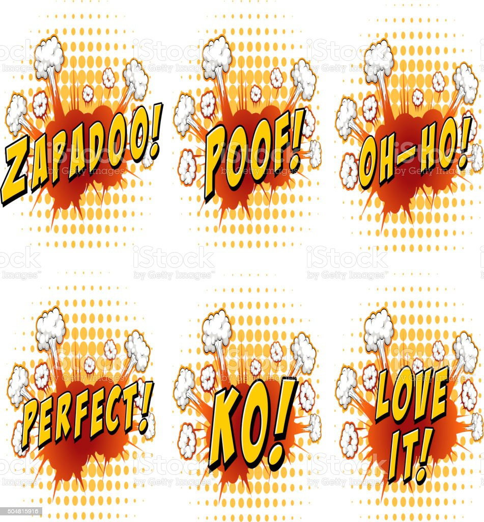 Words design on cloud explosion vector art illustration