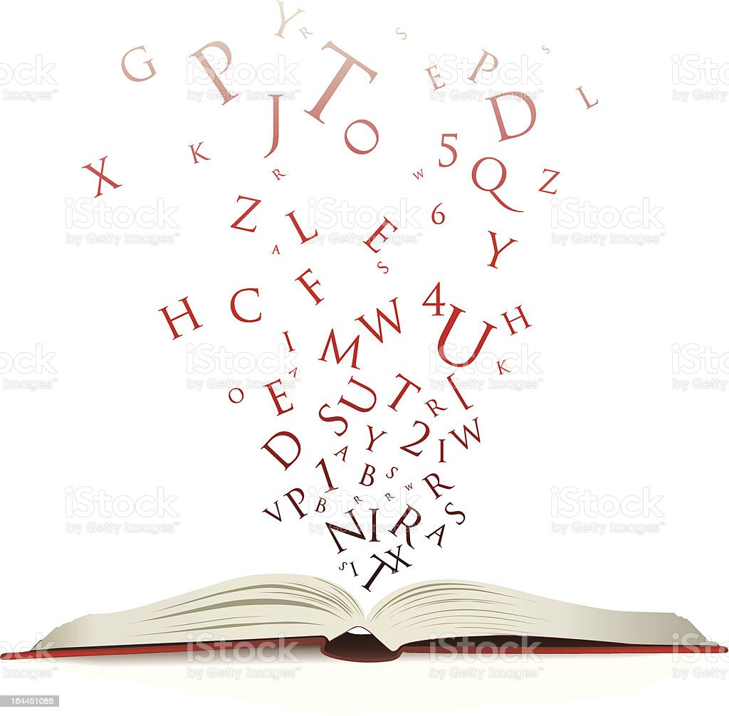 words falling into a book vector art illustration