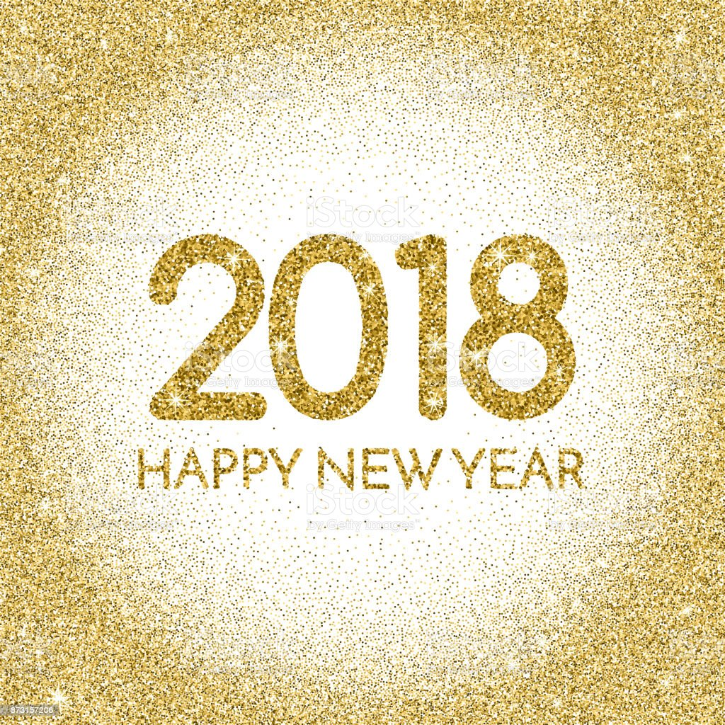 words happy new year 2018 on white and gold background royalty free words happy