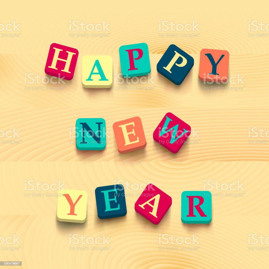 Palabras feliz Año Nuevo con colorido cuadras - ilustración de arte vectorial