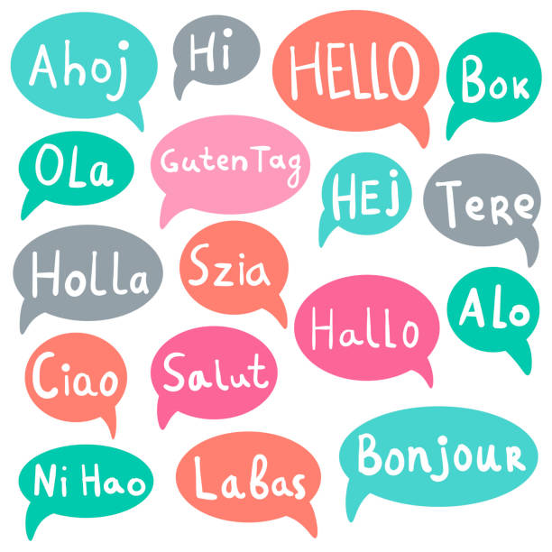 illustrazioni stock, clip art, cartoni animati e icone di tendenza di words hello, hi with speech bubbles on different languages. hand drawn text isolated on white background.  vector illustration. - spagnolo lingua